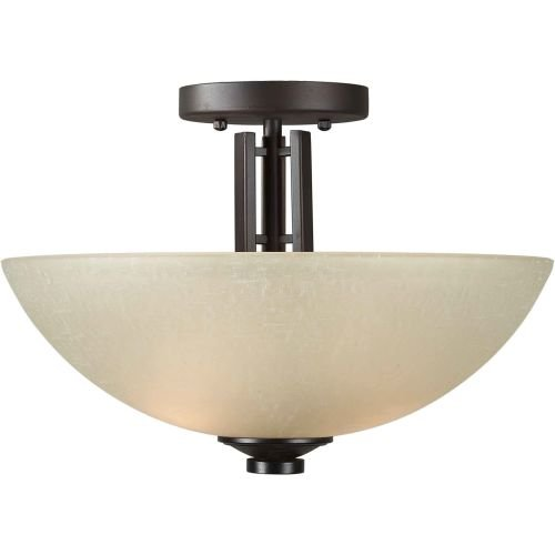 Forte Lighting 2404-02-32 Transitional 2-Light Semi-Flush with Umber Linen Glass, Antique Bronze Finish (Ceiling Fixture Flush Mission Semi)