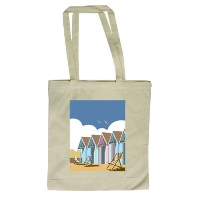 art247 - Bolso de tela, bolsa con diseño de casetas de playa. Por el ilustrador Dave Thompson - 380 mm x 420 mm: Amazon.es: Hogar