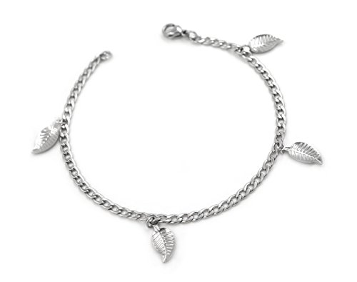 Korway Jewelry Never tarnish stainless steel anklets bracelets for women girl leaves style K04 (8)