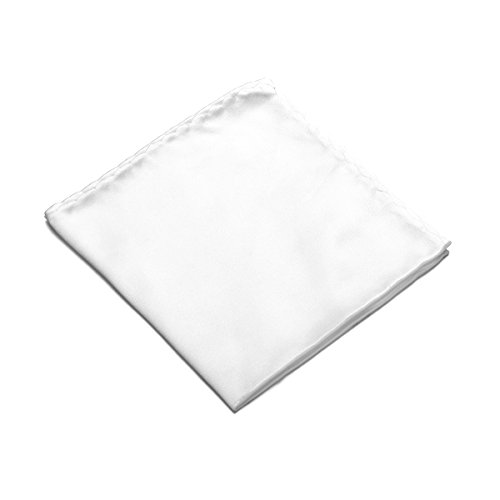 100% Silk Pocket Square Handkerchief by Murong Jun Great for Wedding or Tuxedo (10 Colors) (White)