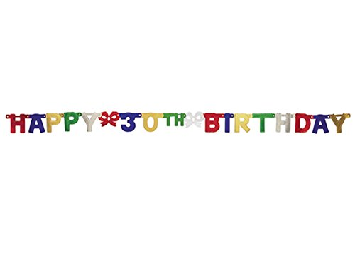 Creative Converting Party Decoration Jointed Banner, Happy 30th Birthday, 6-Feet