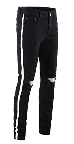 - Men's Destroyed Distressed Ripped Slim Skinny Fit Denim Jeans Pants Trousers, 1# Black White, 28