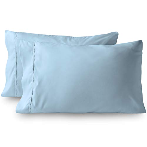 Bare Home Premium 1800 Ultra-Soft Microfiber Pillowcase Set - Double Brushed - Hypoallergenic - Wrinkle Resistant (King Pillowcase Set of 2, Light Blue)