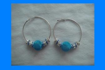 Blue Rhinestone Rondelle Spacer and Metal Mesh Ball, Basketball Wives Hoop Earrings