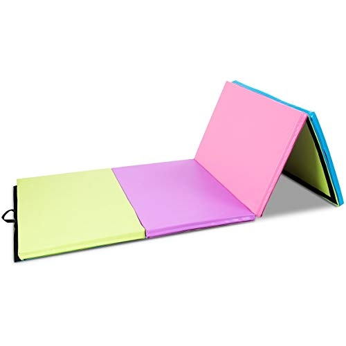 LordBee 4′ x 10′ x 2″ New Nice Multicolor Portable Folding PU Gymnastics Mat Eco-Friendly Zipper Sports Gym Home Exercise