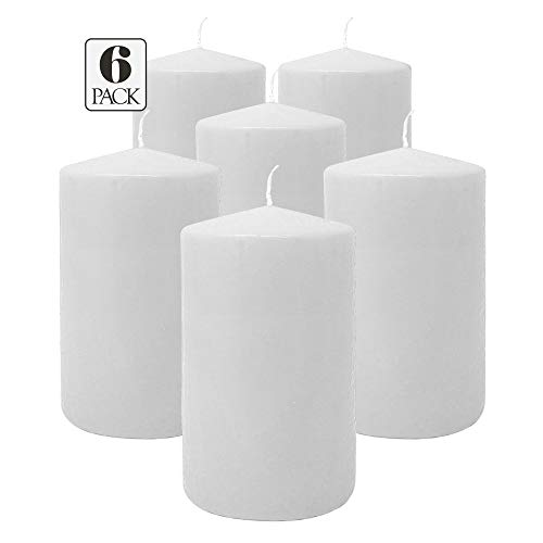 Hyoola White Pillar Candles 3x5 Inch - Unscented Pillar Candles - 6-Pack - European Made (The Three Pillars Of The European Union)