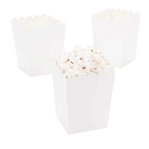 White Popcorn Boxes,Open-Top Popcorn Boxes,Mini Popcorn Boxes,Cardboard Popcorn Boxes - Party Decoration Supplies - Great for Any Parties and Events, Pack of 36 for $<!--$13.99-->