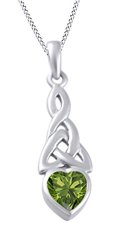 AFFY Trinity Heart Celtic Knot Pendant Necklace Simulated Peridot 14K White Gold Over Sterling ()
