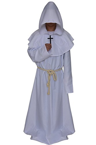 Cosplaybar Friar Medieval Monk Priest Hooded Robe Halloween Costume XXXL White