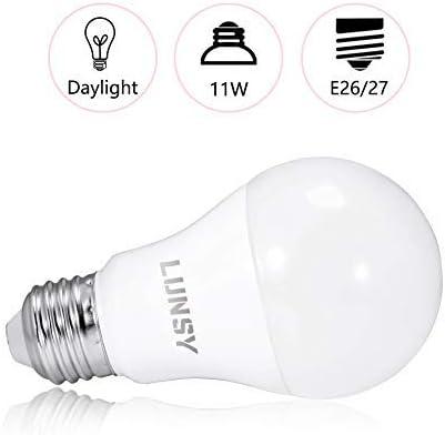 E26 Edison Bulb- 12 Pack LUNSY A19 LED Light Bulb Daylight 100 Watt Equivalent 5000K Non-Dimmable 1100lm