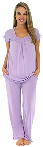 PajamaMania Women's Sleepwear Stretchy Knit Short Sleeve Oversized Top and Pants Pajama Set, Lilac (PMR385LILAC-Lrg) (Knit Pajamas Lavender)