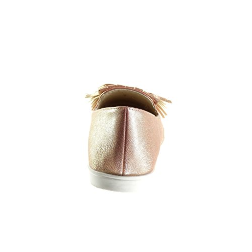 Moda Pompom Tacón Mocasines Zapatillas Mujer Rosa Angkorly Slip Plano Cm Fleco on Talón 1 5 qf5wCx0