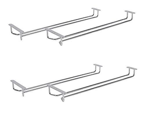 Under Cabinet Wine Glass Stemware Rack Holder Hanger for Kitchen Home Bar (4-Pack) (Undercabinet Wine Glass Holder)