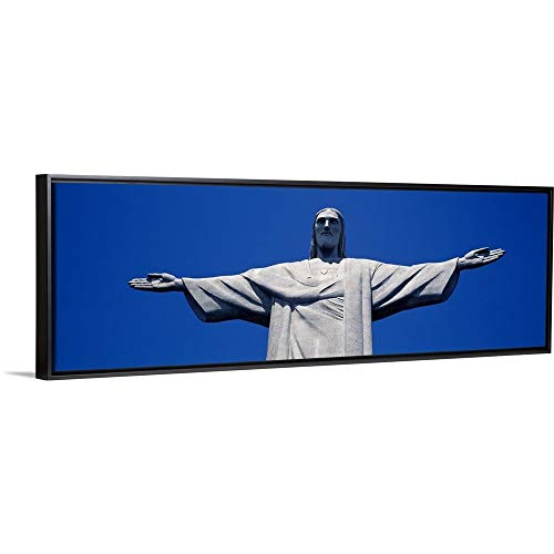 Floating Frame Premium Canvas with Black Frame Wall Art Print Entitled Low Angle View of The Christ The Redeemer Statue, Corcovado, Rio de Janeiro, Brazil 60
