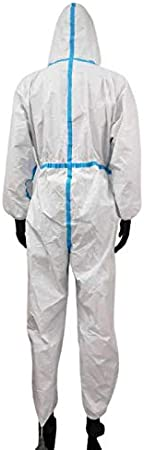 YYCM Disposable Protective Overall Coverall Full Body Isolation Suit Safety Work Gowns Clothing 5 PCS Universal size
