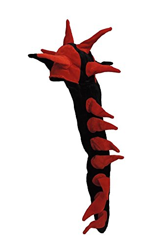 Black & Red Plush Spike Dragon Tail Hat