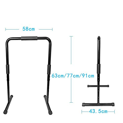 S-fitness equipment Non-Slip for Tricep Dips Fit Dip Stand Station Heavy Duty Ultimate Body Press Bar with Safety Connector Durable (Color : Black, Size : 589143.5cm) (Dips Best Tricep Exercise)