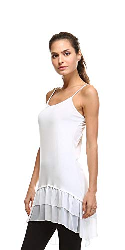 Cotton-Blend Layering Top Extender Camisole and Chiffon High-Low Extenders (Medium/Large, White Chiffon) ()