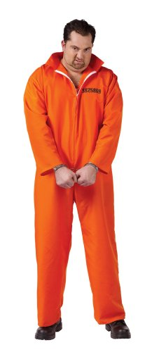 Fun World Men's Got Busted Penitentiary Costume-Plus, Orange, One -