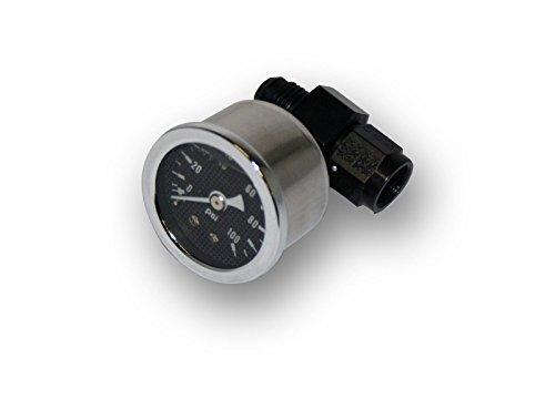 CBM Motorsports an Fittings -6AN to -6AN Fitting Inline Fuel Or Oil Pressure Gauge- Black