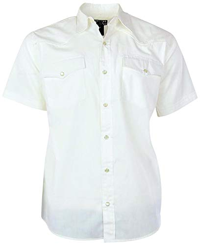 Men's Short Sleeve Solid Western Shirt | Pearl Snap Front (Large, - Short Pearl Sleeve Snap