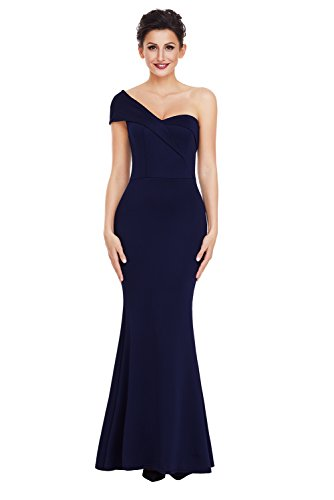 elegante a abito da cerimonia Blu party festa vestito sirena da mono spalla donna lungo sexy emmarcon U5qwYTn