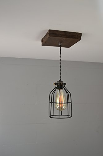 West Ninth Vintage Flushed Wood Pendant Farmhouse Fixture | w/ Metal Cage Light by West Ninth Vintage (Image #2)