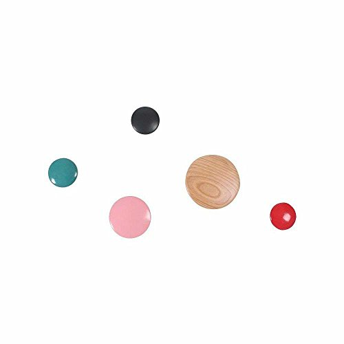 Blue Display Dot (Emorden Furniture The Dots Coat Hooks Set of 5, Colorful Ash Wood Wall Mounted Wall Hanger Rack, Scatter The Wall to Display Hats, Clothes etc.(Small Blue & Red & Black/Medium Pink/Large Natural))