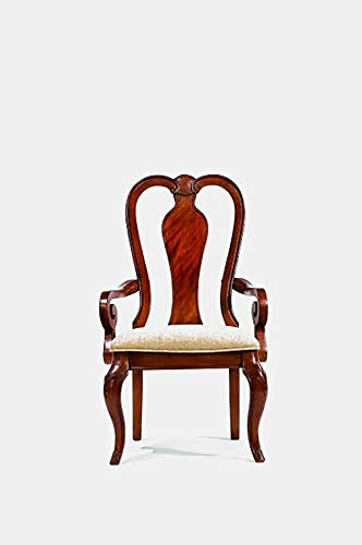 Wood Dining Chair with Cotton Upholstery - Dining Chair with Queen Anne Back and Curved Legs - Set of 2 - Rich Auburn (Queen Anne Upholstery)