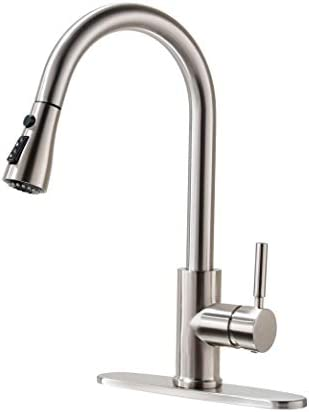 Kitchen Faucet, Kitchen Sink Faucet, Sink Faucet, Pull-down Kitchen Faucets, Bar Kitchen Faucet, Brushed Nickel, Stainless Steel, RULIA PB1020