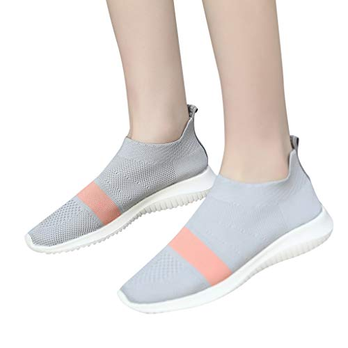 Summer Women Sport Shoes - POHOK Women Flying Woven Socks Shoes Stretch Cloth Plus Size Shoes Lightweight Sports Shoes(38,Gray) from POHOK
