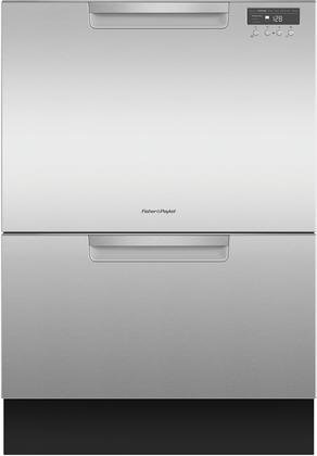 "Fisher Paykel DD24DCTX9 24"" Tall Double Drawer DishDrawer Dishwasher with 14 Place Settings 2 Cutlery Baskets Child Lock SmartDrive TM Technology and Recessed Handle in Stainless"