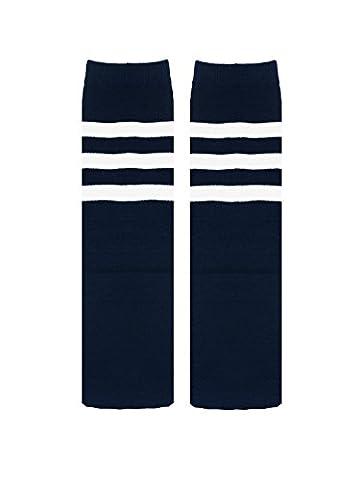 Zando Uniform Cotton Knee Thigh High Socks with Triple Stripes Tube for Kids G Navy (Amidala Bambino Costume)