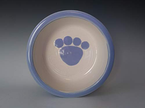 Pet Food Water Dish ~ Dog and Cat Bowl ~ Paw Print ~ Handmade Stoneware Ceramic Pottery ~ Cool White with Sky Blue ()