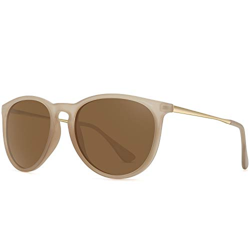 WOWSUN Polarized Sunglasses for Women Girl Classic Vintage Round Style Matte Khaki Frame Tinted Brown Lens
