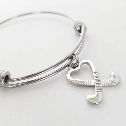 Field Hockey Sticks Charm Bracelet Silver Bangle Team Jewelry