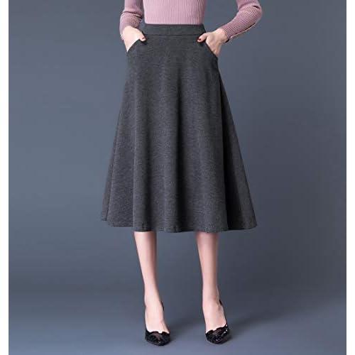 low cost 570f7 8ac94 60%OFF Damen Vintage Elegant Wollrock hohe Taille Langen ...