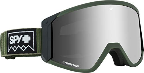 Goggles Snowboard Optics - Spy Optic Raider Snow Goggles | Ski, Snowboard or Snowmobile Goggle | Two Lenses with Patented Happy Lens Tech (DEEP Winter Olive-Happy Bronze w/Silver Spectra+Yellow)