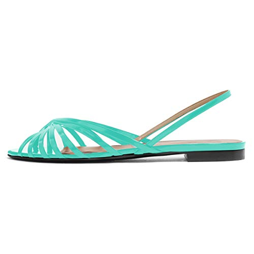 YDN Women Peep Toe Hollow Out Slingback Flat Sandals Comfort Cutout Summer Shoes Turquoise 7