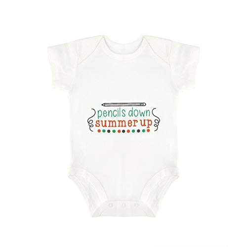Promini Cute Baby Onesie Pencils Down Summer Up Baby Bodysuit Infant One Piece Baby Romper Best Gift for Baby White