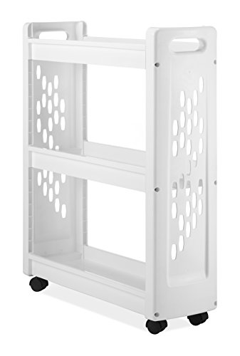 Whitmor 3 Tier Rolling Laundry Cart - Space Saving Mobile Storage Solution (Bin Laundry Cart)
