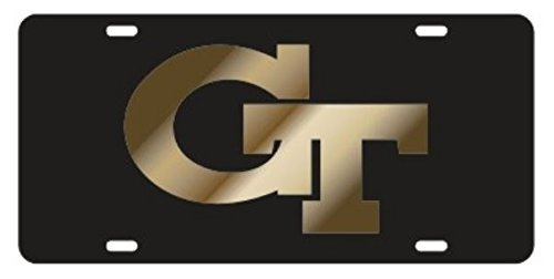 Georgia Tech Black with Gold Gt Mirrored Laser Cut Inlaid License Plate