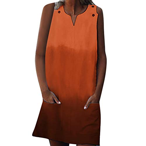 SMALLE_Clothing t Shirt Dresses for Women,SMALLE◕‿◕ Women Scoop Neck Sleeveless Button Tank Top Gradient Casual Mini Dress Orange