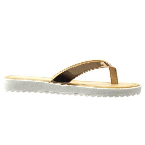 Angkorly - damen Schuhe Sandalen Flip-Flops - T-Spange - glänzende flache Ferse 2 CM - Champagner