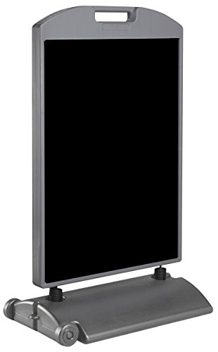 """Outdoor Pavement Sign for 22""""w x 28""""h Posters, Double-Sided Sandwich Board Includes 2 Black Coroplast Inserts - Gray Plastic Polyethylene"""