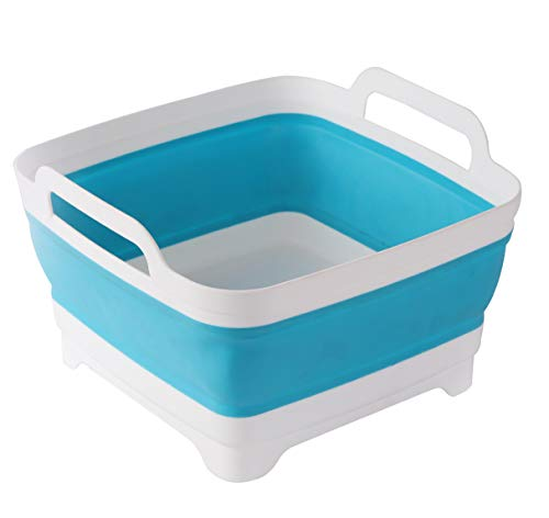 Collapsible Wash Basin with handle,Space Save,Folding Dish Tub, Draining Basket for fruit,vegetable(blue)