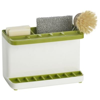 ILO Large Green & White Sink Tidy For Sponges, Brushes & More (16x11.5x14cm)