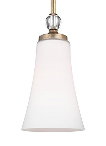 Satin Pendant Clear Gold (Feiss P1415SG Evington Glass Pendant Lighting, Gold, 1-Light (5