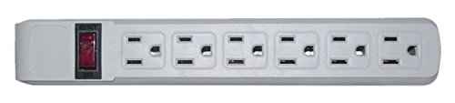 C&E Surge Protector, Flat Rotating Plug, 6 Outlet, Horizontal Outlets, Plastic, Power Cord, 15 Feet, Gray, CNE470769