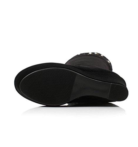 Mejores 4u® Zapatos De Mujer Botas De Gamuza Otoño Invierno Suela De Goma Punta Redonda Cuña Pesada Tacón Rodilla Botas Bordado